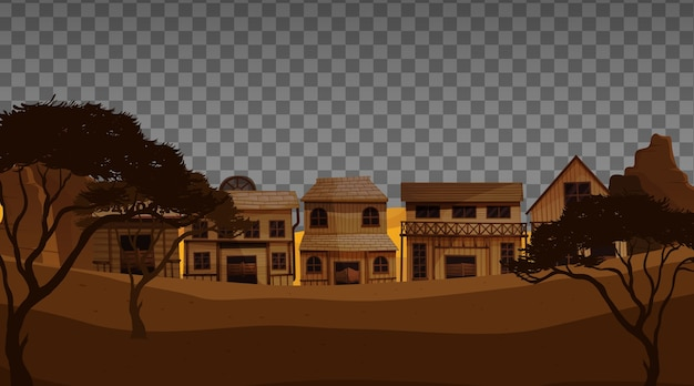 Old town village on transparent background