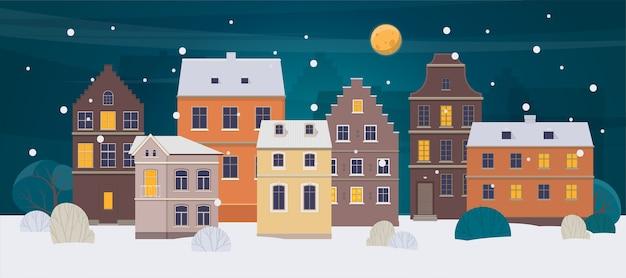 Старый город с разными домами ночью