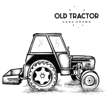 Old tractor hand drawn