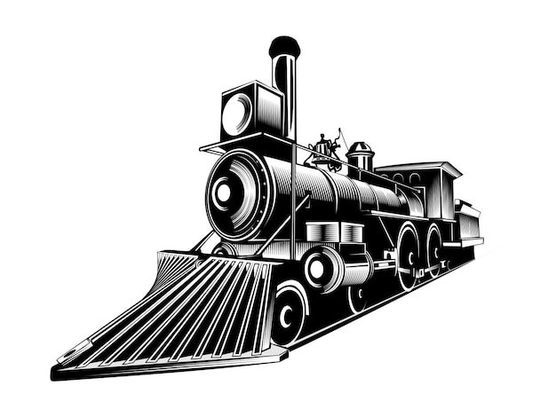 Старый поезд черно-белый