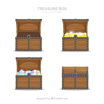Old treasure chest collection with flat design