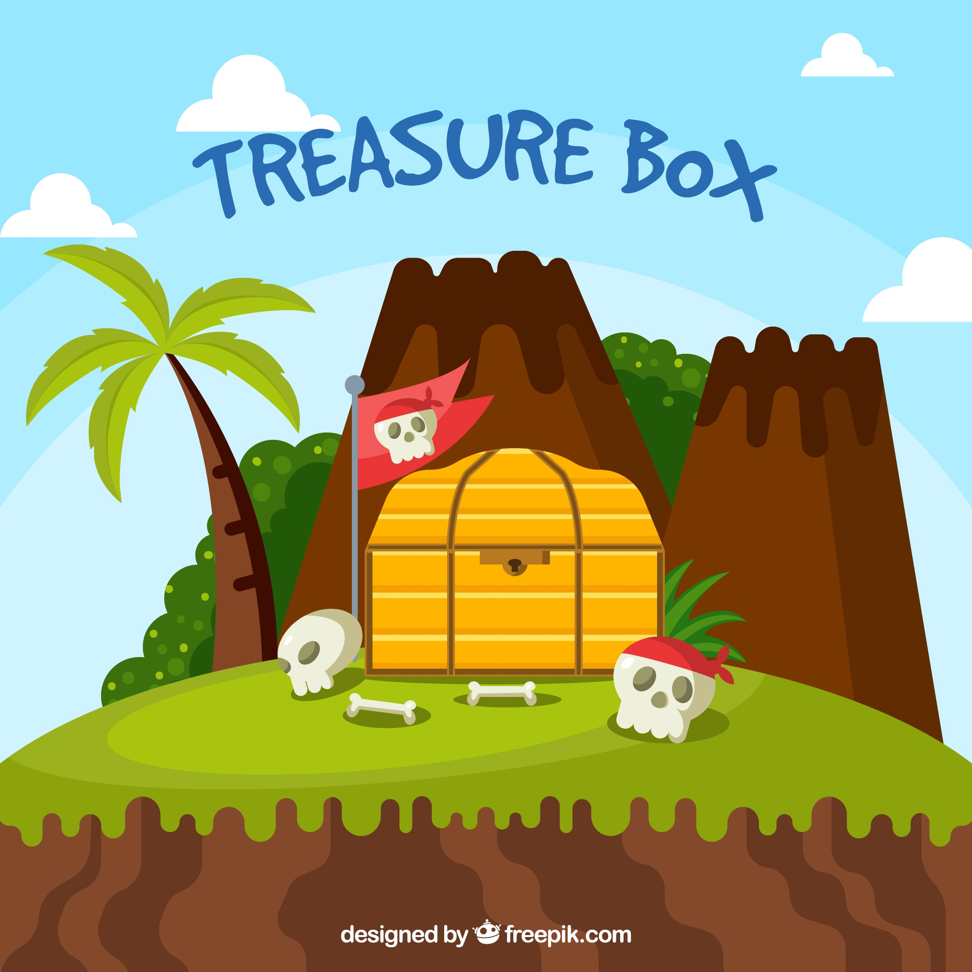Old treasure chest with flat design