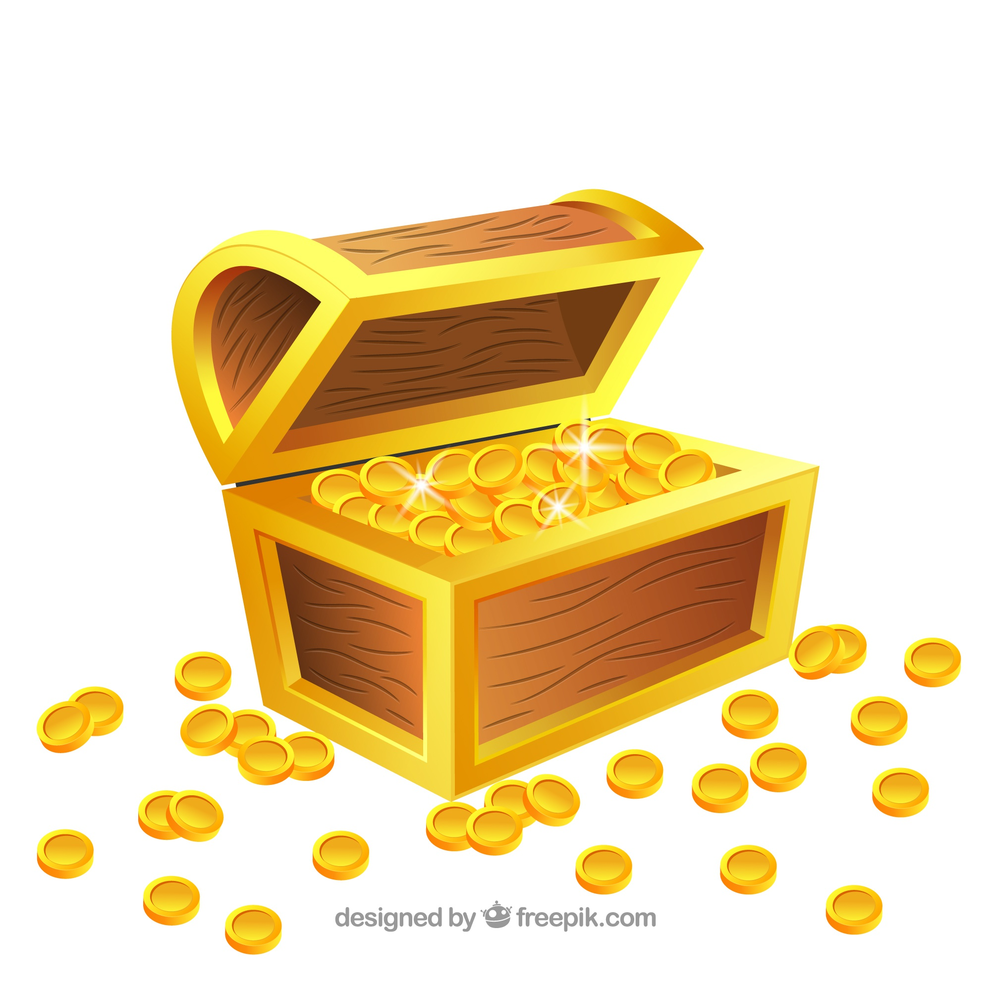 Old treasure chest with realistic design