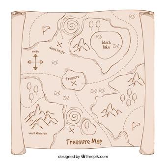 Vecchio sfondo del tesoro mappa