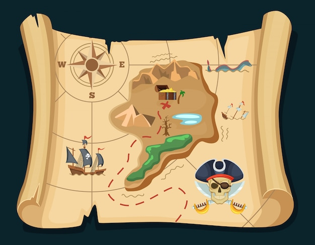 Old treasure map for pirate adventures. island with old chest. vector illustration. pirate map treasure, travel adventure
