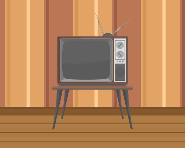 평면 디자인 테이블에 오래 된 tv