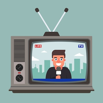 The old tv shows a live report with a correspondent. flat  illustration