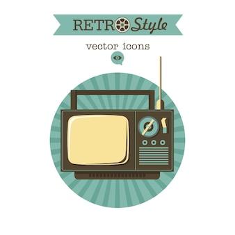 古いテレビ。レトロなスタイルのベクトルのロゴアイコン。
