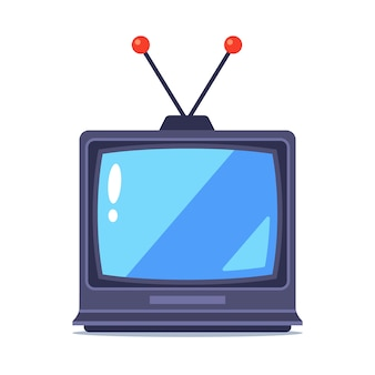 Old tv with antenna on a white background.  illustration.