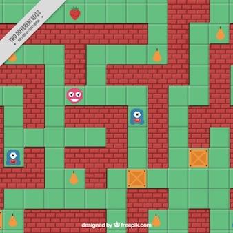 Старый видеоигра фон в плоской конструкции