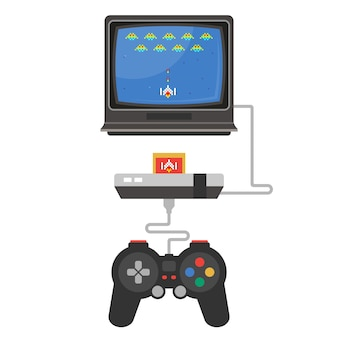 An old video game console on a tv. flat  illustration