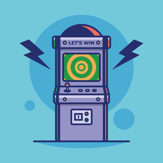 Old video game play icon vintage arcade game machine vector illustration