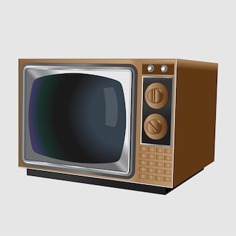 木製のケースに入った古いヴィンテージの黒と白のテレビ。白い背景の上の現実的なレトロな古いテレビ。孤立。
