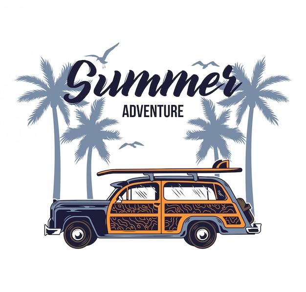 Старый винтажный автомобиль для летнего серфинга, путешествующего и живущего на райских пляжах калифорнии с солнцем, морским серфингом. кемпинг грузовик печать иллюстрации