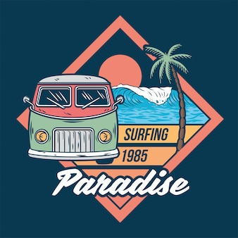 Old vintage car for summer surfing traveling and living on the paradise california beaches with sun sea surf.
