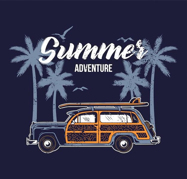 Old vintage car for summer surfing traveling