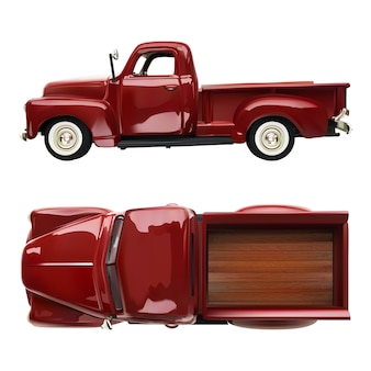 Old vintage classic pickup red truck  realistic illustration on white isolated . side and top view