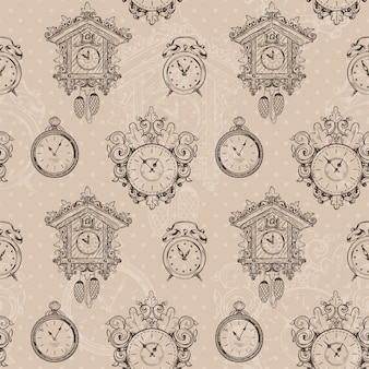 Old vintage clock and stopwatch sketch seamless pattern vector illustration