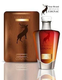 Old vintage cognac packaging design. realistic product with brand label. place for texts