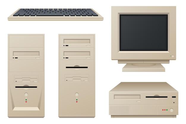오래 된 빈티지 컴퓨터 흰색 절연