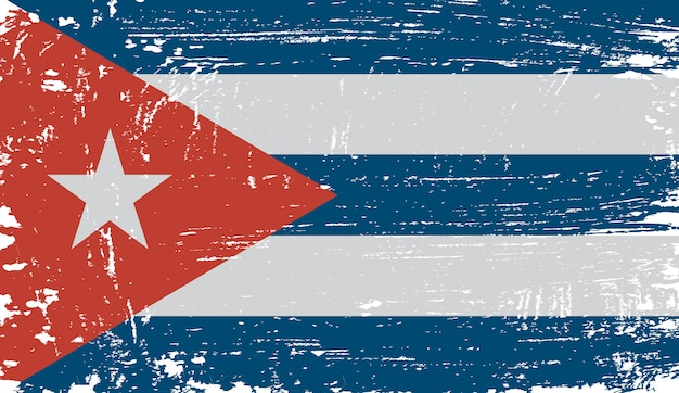 Old vintage flag of cuba