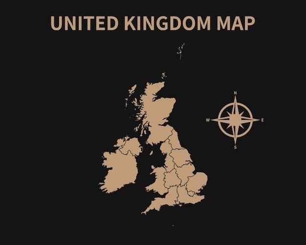 Старая винтажная карта соединенного королевства с компасом и границей региона, изолированные на темном фоне