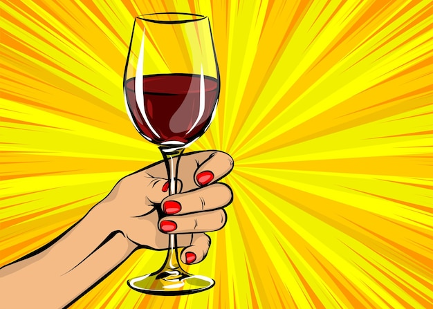 Old vintage poster woman pop art hold red wine glass girl hand with beverage in comics book style