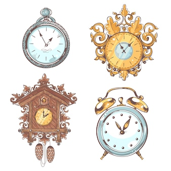 Old vintage retro clock set