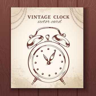 Old vintage retro sketch alarm clock paper card vector illustration