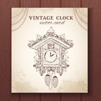 Old vintage retro sketch cuckoo clock paper card vector illustration