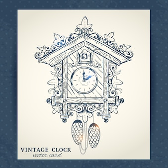 Old vintage retro sketch cuckoo clock paper vector illustration