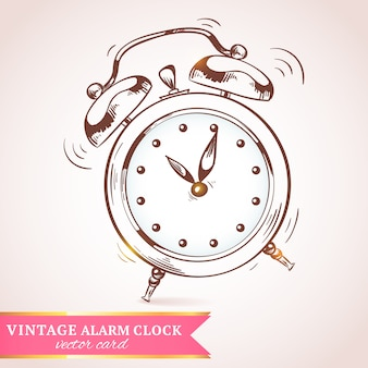 Old vintage retro sketch ringing alarm clock paper vector illustration