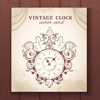 Old vintage retro sketch wall clock with decoration paper card vector illustration
