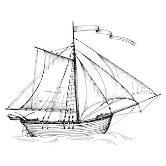 古いヴィンテージの帆船、手描きのベクトルスケッチ