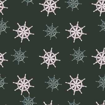 Old vintage seamless pattern in pirate style with grey and blue ship helm ornament. dark background.