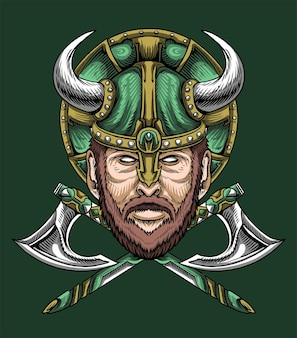 Старый воин викинг иллюстрация вектор