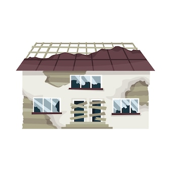 오래 된 풍 화 집 또는 주거. 나쁜 상태의 버려진 집.