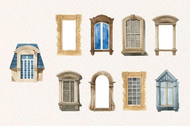 Старая оконная архитектура набор акварельных иллюстраций