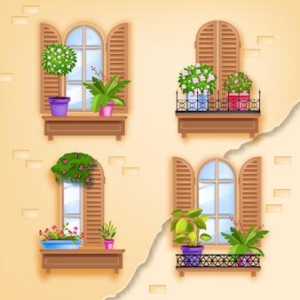 Старые окна деревянные векторные иллюстрации рамы, кирпичная стена дома, ставни, створки, балконы