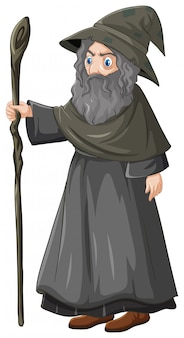Old wisard holding staff