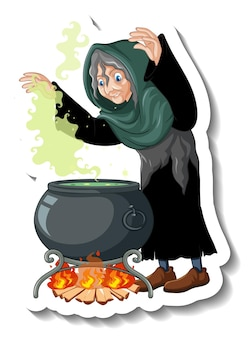 Старая ведьма варит зелье горшок мультяшный персонаж стикер