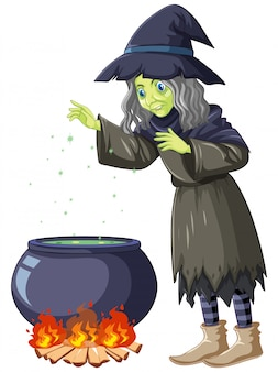 Old witch cooking potion cartoon character