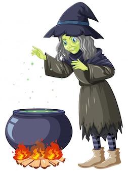 Vecchia strega che cucina il personaggio dei cartoni animati della pozione
