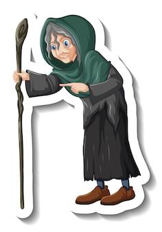 직원 만화 캐릭터 스티커를 들고 늙은 마녀