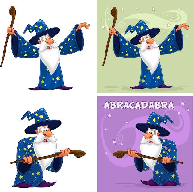 오래 된 마법사 만화 캐릭터. 컬렉션 집합에 고립 된 흰색 배경