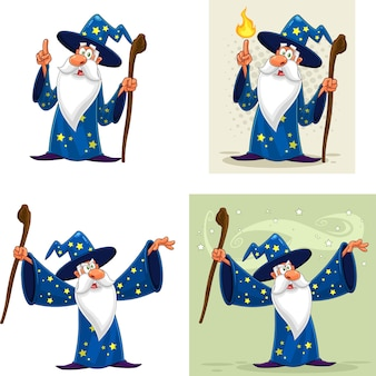 Old wizard cartoon character.  collection set isolated on white background