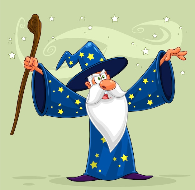 Old wizard cartoon character with a cane