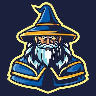 Old wizard esport logo illustration