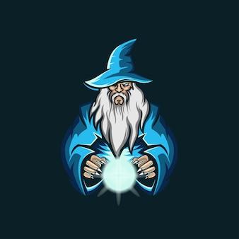 Old wizard esport logo illustration