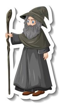 직원 만화 캐릭터 스티커를 들고 오래 된 마법사